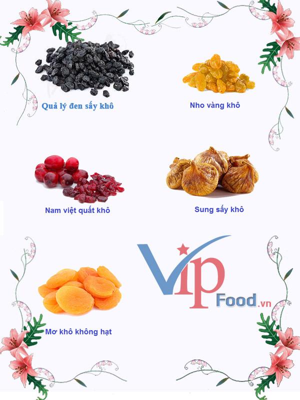 tổng hợp 5 loại trái cây sấy khô